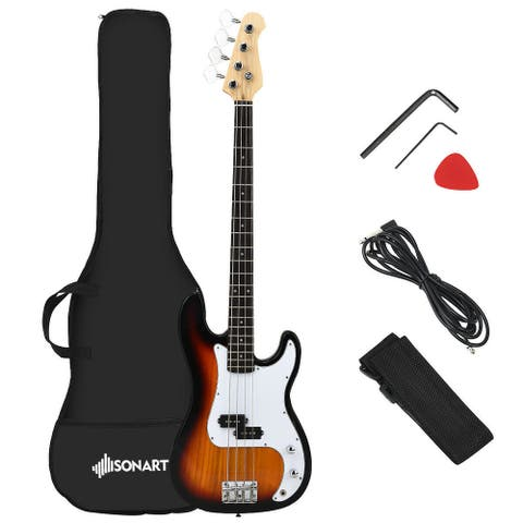 Gymax Full Size Electric Bass Guitar 4 String with Strap Guitar Bag