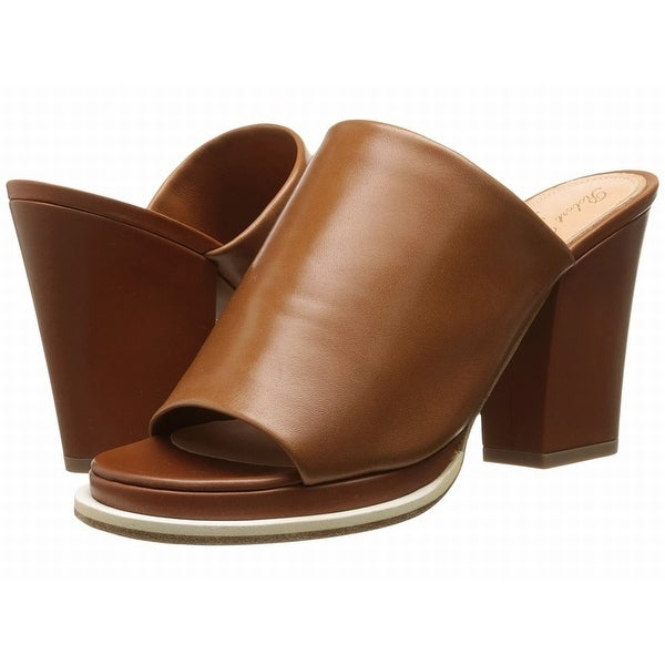 Robert Clergerie NEW Brown Shoes Size 8.5M Mules Leather Heels