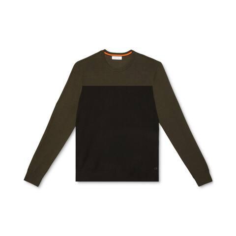 Calvin Klein Mens Sweatshirt Black Medium M Colorblock Pullover Wool