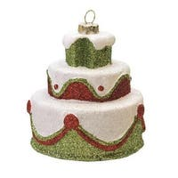 "3"" Merry & Bright White  Green and Red Glittered Shatterproof 3-Tier Cake Christmas Ornament"