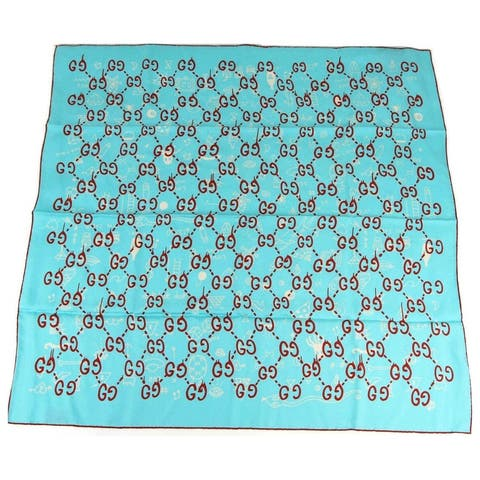 Gucci Women's Teal Silk Red Ghost GG And White Halloween Print Square Scarf 442805 4874 - One Size