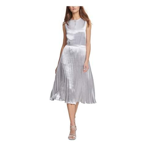 DKNY Womens Silver Midi Pleated Skirt Size 10