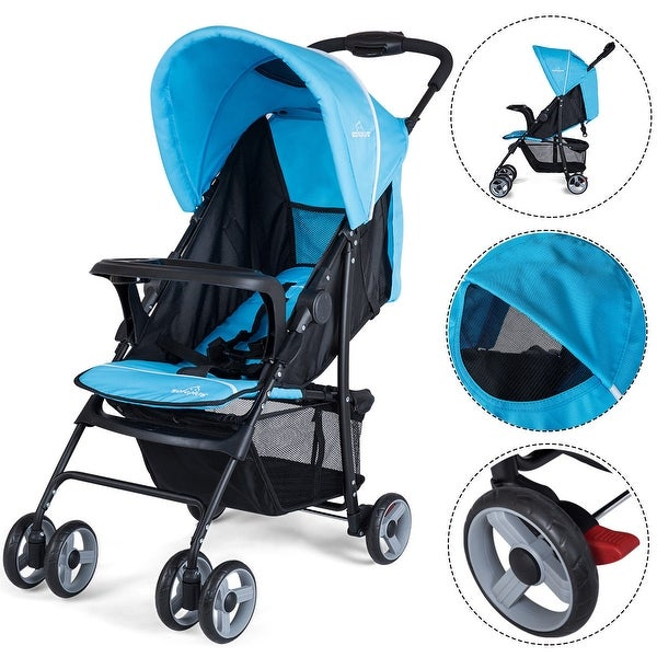 Safeplus Foldable Lightweight Baby Stroller Kids Travel Pushchair 5-Point Safety System