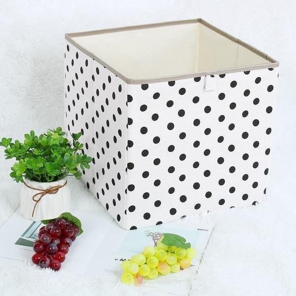 "Linen Fabric Storage Bin Toy Box Organizer 13"" x 13"" x 13"" Black Dot Style - Black Dot - 13"" x 13"" x 13"""