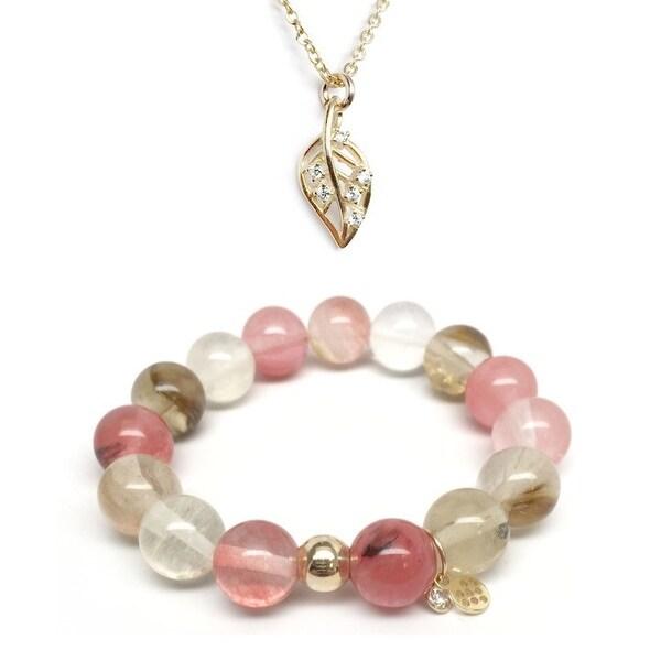 Pink Cherry Quartz Bracelet & CZ Leaf Gold Charm Necklace Set