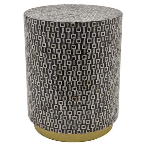 Plutus Brands Wood Side Table W/capiz in Black Wood