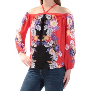 Womens Red Floral Long Sleeve Halter Casual Top Size L