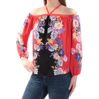 INC Womens Red Sheer Cold Shoulder Floral Long Sleeve Halter Top  Size: XL