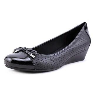 Easy Spirit Dawnette Women  Open Toe Leather Black Wedge Heel