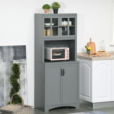 HOMCOM Accent Kitchen Buffet and Hutch Wooden Storage Cupboard with Glass Framed Door, and Microwave Space