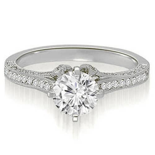 1.25 cttw. 14K White Gold Round Cut Diamond Engagement Ring