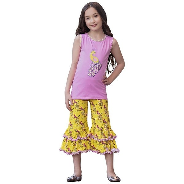 AnnLoren Baby Girls Pink Yellow Proud Peacock Tunic Capri Outfit