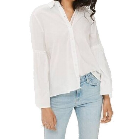 a654fc8f88 Shop TopShop NEW White Women's Size UK 8 US 4 Bell Sleeves Button-Down Shirt  - Free Shipping On Orders Over $45 - Overstock - 20852327