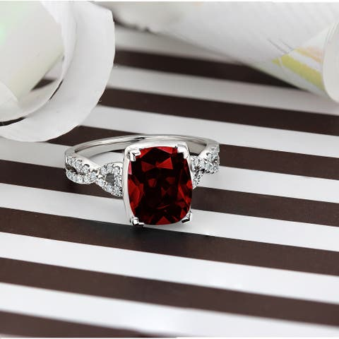 Auriya 3 9/10ct Cushion-cut Garnet Diamond Engagement Ring 1/5ctw 14k Gold