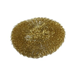 Unique Bargains Gold Tone Brass Spiral Scrubber Scourer Cleaning Ball Tool for Machine