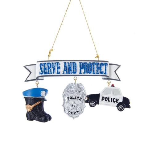 """Serve and Protect Policeman Banner with Badge, Boots and Car Christmas Ornament 4.25"""""""