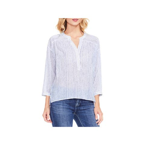 a5f9ec48 Two by Vince Camuto Womens Bleached Blues Casual Top Striped 3/4 Sleeves