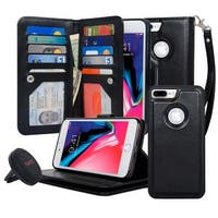Navor Car Mount and Three Layers Detachable Magnetic Wallet Case with [10 Card Slots] [2 Money Pockets] for Apple iPhone 8 Plus