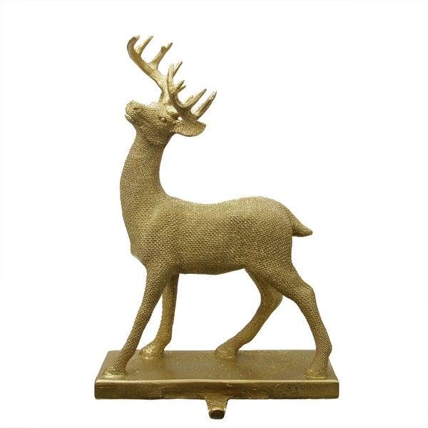 "15.5"" Embellished Gold Lodge Style Standing Deer Decorative Christmas Stocking Holder"