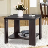 Gymax Square Coffee Tea Sofa Side End Table Living Room Furniture with Storage Shelf