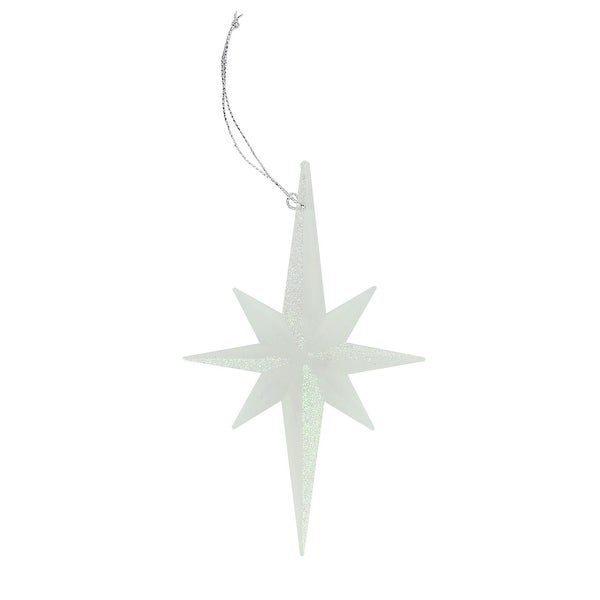 "5"" Celebration Clear Frosted Glitter Moravian Star Christmas Ornament"