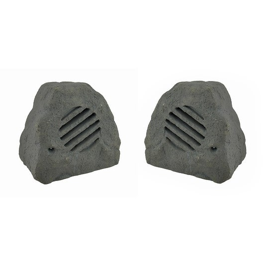 Set of 2 Weather Resistant Outdoor Rock Shaped 2 Way Speakers 8 in.