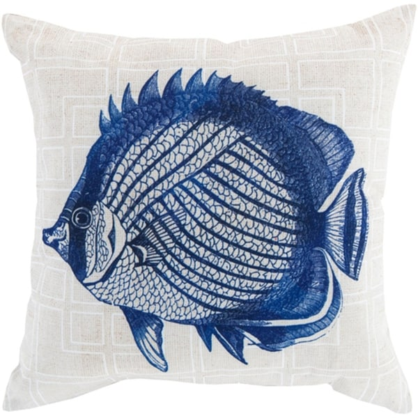 "18"" Royal Blue and Lace White Fish Woven Square Throw Pillow Shell"
