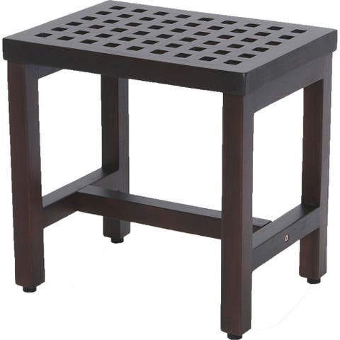 Compact Rectangular Teak Lattice Pattern Shower or Outdoor Bench in Brown Finish