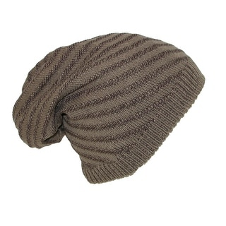 Dynamic Asia Reversible Solid to Slanted Stripe Knit Beanie Hat - One Size