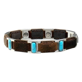 Sabona Jewelry Womens Bracelet Lady Leather Brown Turquoise 266