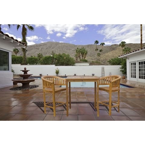 """Chic Teak 3 Piece Teak Wood Peanut Patio Bistro Bar Set with 2 Bar Chairs and 35"""" Bar Table"""