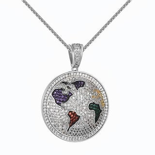 "World Map Globe Pendant Red Green Lab Diamonds Silver Tone Free Chain 24"""