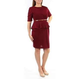 CONNECTED $79 Womens New 1325 Burgundy Belted Short Sleeve Sheath Dress 18 B+B