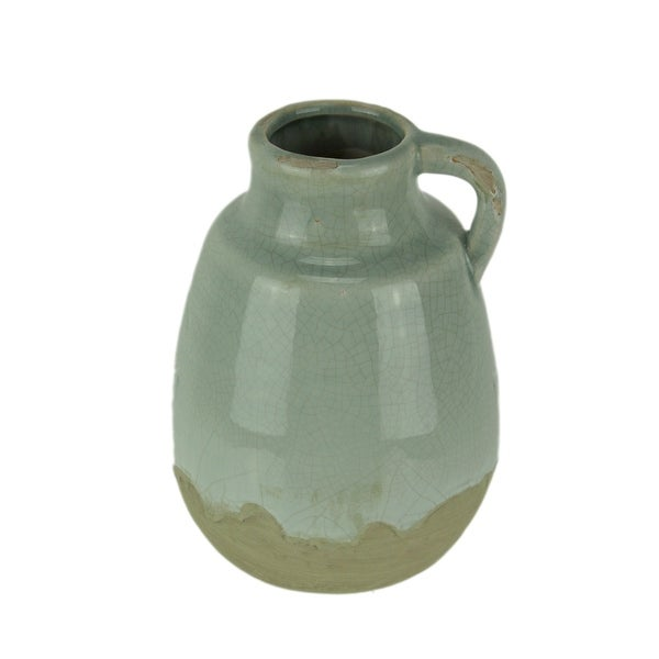 Light Blue Crackle Glazed Earthenware Decorative Pitcher - 8 X 5.5 X 5.5 inches