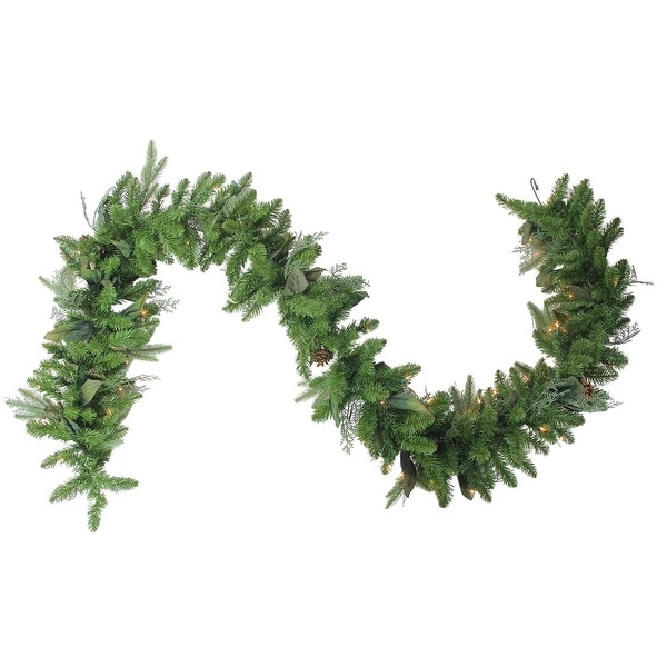 "9' x 12"" Pre-Lit Mixed Winter Foliage Artificial Christmas Garland - Clear Lights"