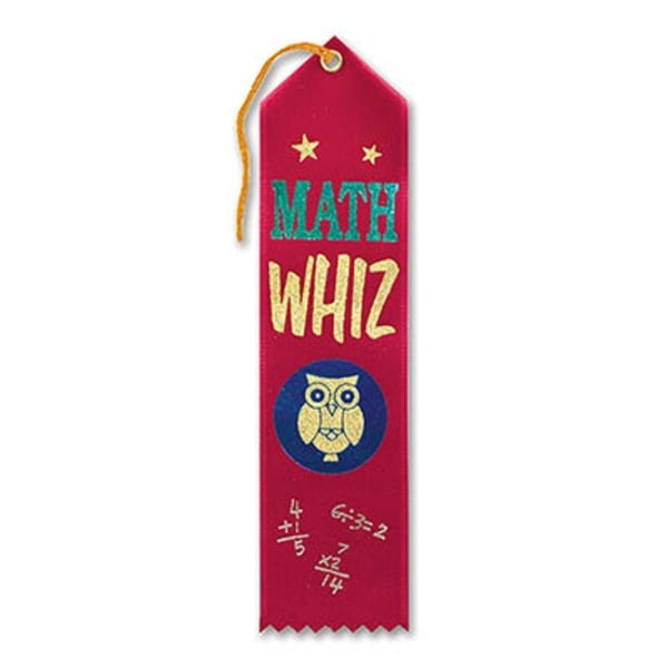 """Pack of 6 Red """"Math Whiz"""" School Award Ribbon Bookmarks 8"""""""