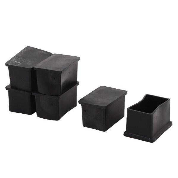 Unique Bargains Office Rubber Rectangle Table Chair Furniture Foot Cover Black 50 x 30mm 6 Pcs