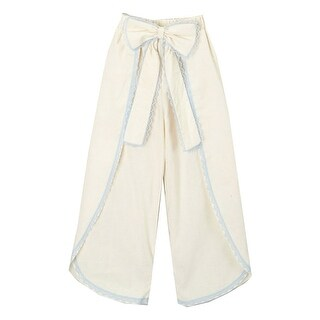 Girls Ivory Blue Scalloped Trim Bow Accent Wide Leg Pants 7-10