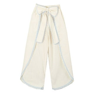 Little Girls Ivory Blue Scalloped Trim Bow Accent Wide Leg Pants 12M-6 (Option: 2t)