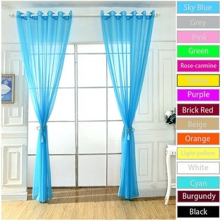 Home Solid Grommet Voile Curtain Sheer Panel Drapes for Window Door Decor