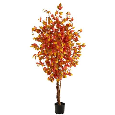 6' Autumn Ficus Artificial Fall Tree
