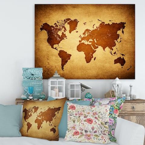 Designart 'Ancient Map of The World VI' Vintage Canvas Wall Art Print