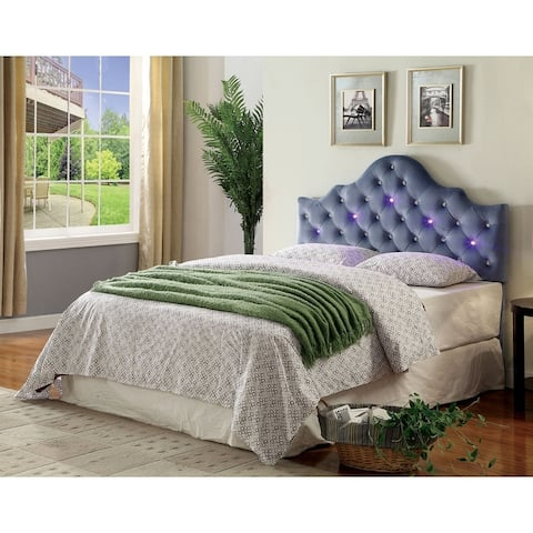 Furniture of America Lina Contemporary Fabric Tufted Crown Headboard