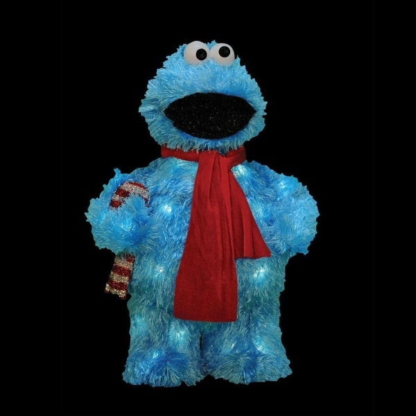 "18"" Pre-Lit Faux Fur Sesame Street Cookie Monster Christmas Outdoor - Clear Lights - BLue"