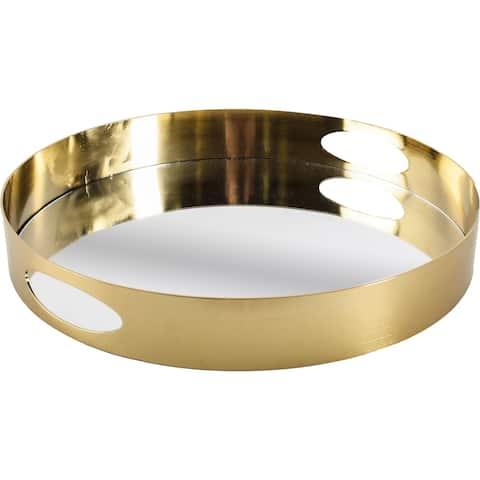 Mercana Serkis Gold Metal Mirrored Base Round Tray