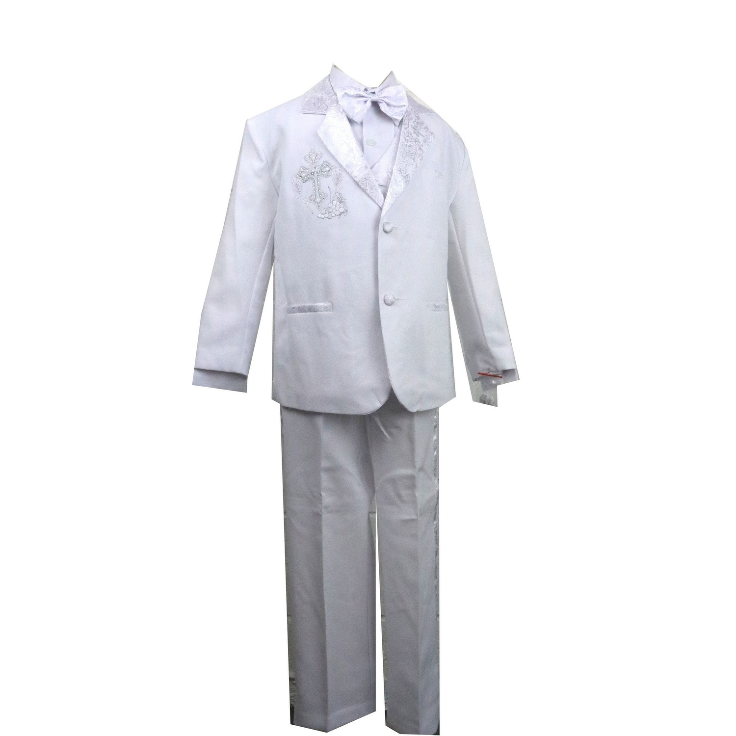 Angels Garment Baby Boys White 5 pcs Gold Embroidered Tuxedo 3-24M