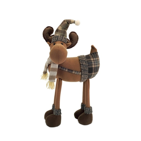 """26"""" Country Cabin Decorative Plush Brown Plaid Moose Wearing Suspenders Christmas Decoration"""