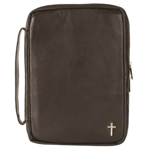 "10.5"" Brown and Silver Religious Themed Cross Embedded Zippered Bible Cover - N/A"