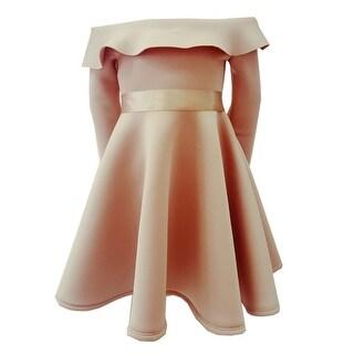 Little Girls Mocca Ruffle Off-Shoulder Long Sleeve Flower Girl Dress