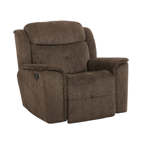 Fabric Upholstered Wooden Reclining Chair with Tufted Design, Brown